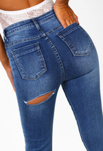 Cheeky, But Cute Blue Denim Bum Rip Skinny Jeans