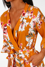 Chelsea Flower Show Mustard Floral Frill Sleeve Playsuit