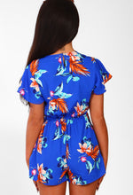 Chic Hot Cobalt Blue Floral Wrap Playsuit