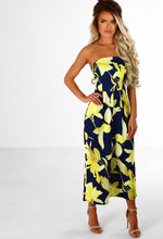 Chic In Culottes Navy And Yellow Floral Strapless Culotte Jumpsuit