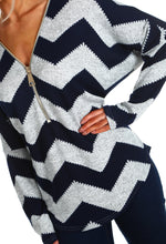 Chic Treat Navy and Grey Chevron Zip Front Jumper