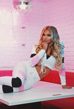 Chill Hun White Colour Block Cropped Tracksuit