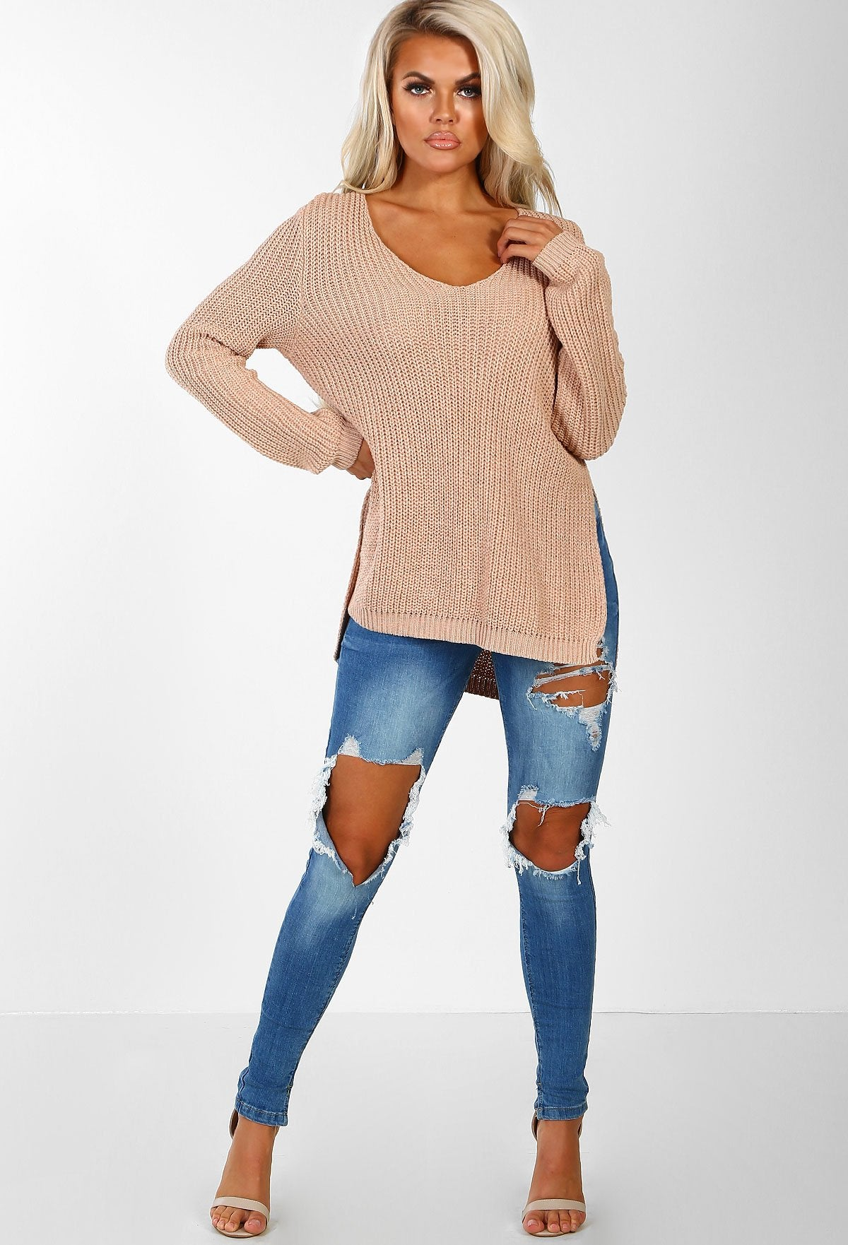 Chills Baby Nude Side Split Knitted Jumper  Pink Boutique Uk-1181