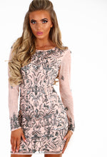 Chique Lifestyle Nude Embellished Long Sleeve Mini Dress
