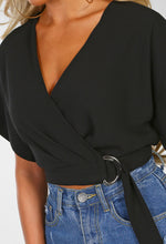 Change Of Heart Black Belted Waist Wrap Crop Top