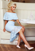 Baby Blue Lace Midi Skirt