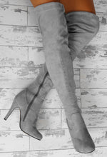 City Chic Grey Faux Suede Over The Knee Stiletto Boots