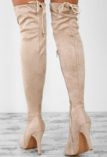 City Chic Nude Faux Suede Over The Knee Stiletto Boots