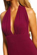 Plum Halterneck Wide Leg Jumpsuit - Detail