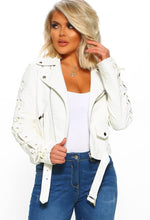 White Lace Up Biker Jacket