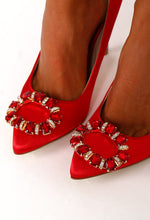 City Red Crystal Embellished Heels