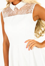 White Lace Top Skater Dress - Detail
