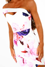 Class and Sass White Multi Floral Asymmetric Midi Dress