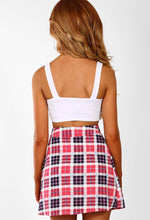 Cluelessly Chic Pink Multi Check Button Detail Wrap Mini Skirt
