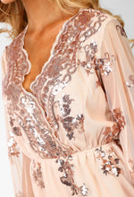 Cocktail Lover Nude Sequin Flared Sleeve Playsuit