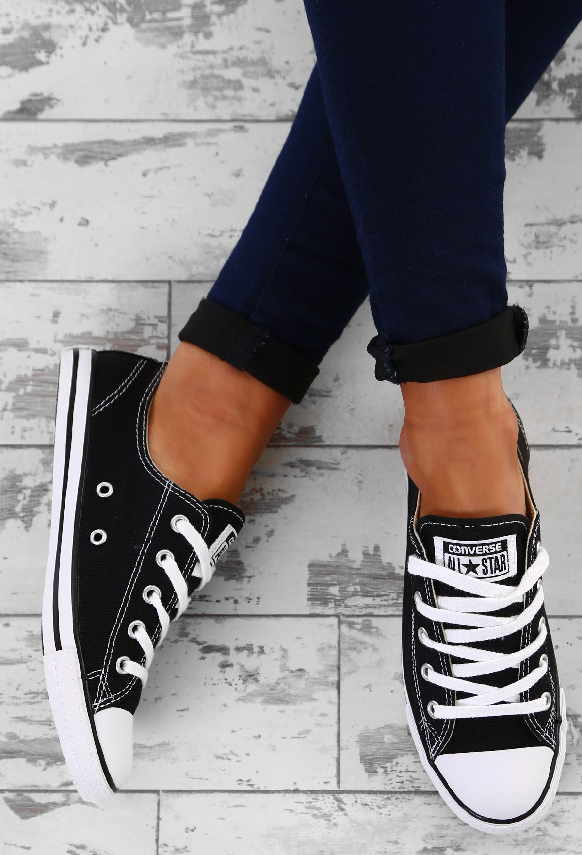 72d741c47af6 Chuck Taylor Converse All Star Dainty Ox Black Trainers – Pink ...