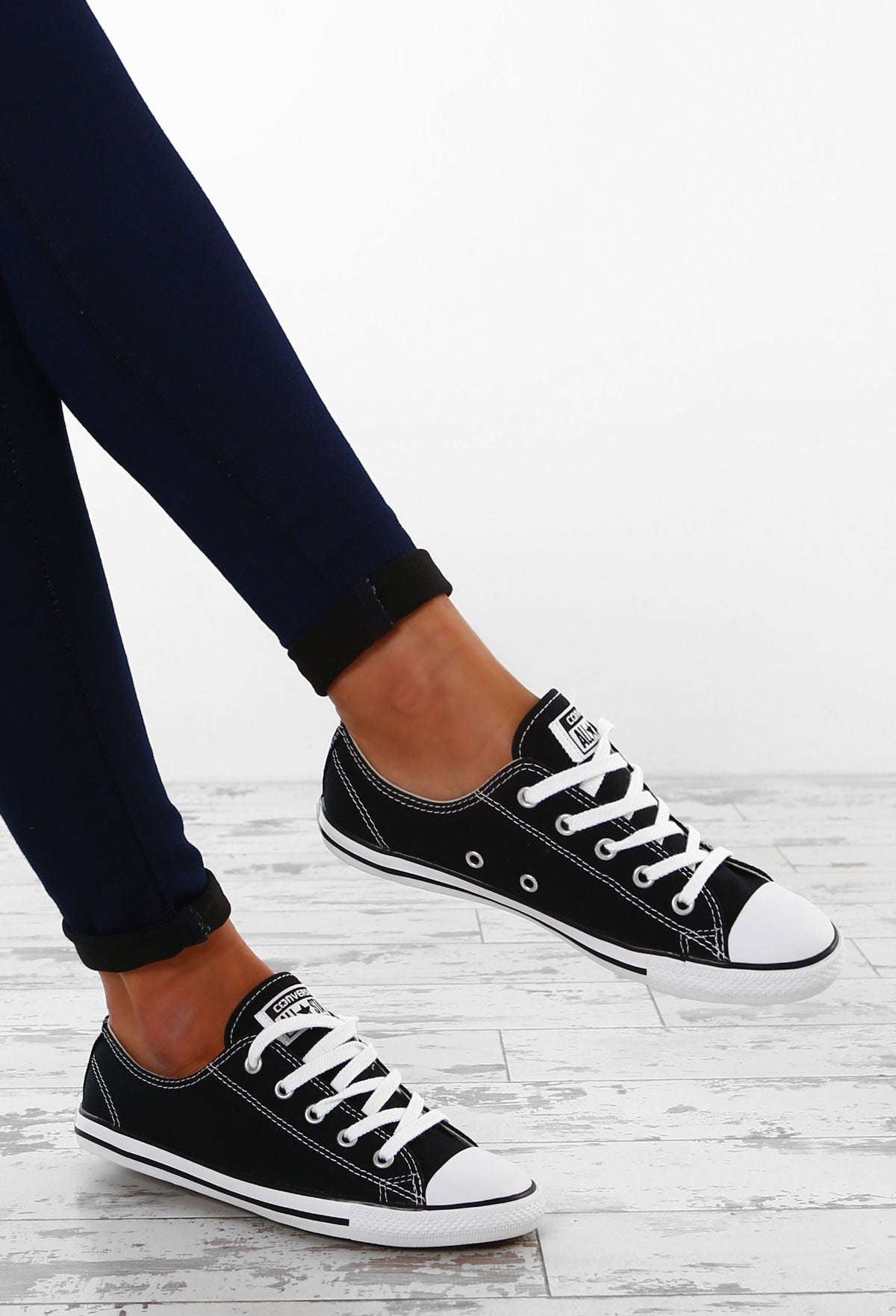 fdadea0a705ea7 Chuck Taylor Converse All Star Dainty Ox Black Trainers – Pink ...