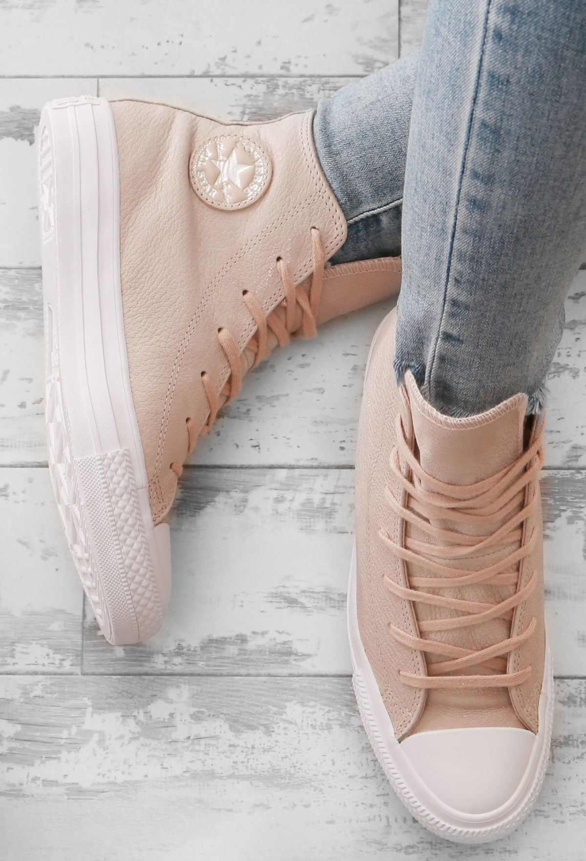 Chuck Taylor Converse Nude High Top Trainers – Pink Boutique UK d6c83c09ea56a