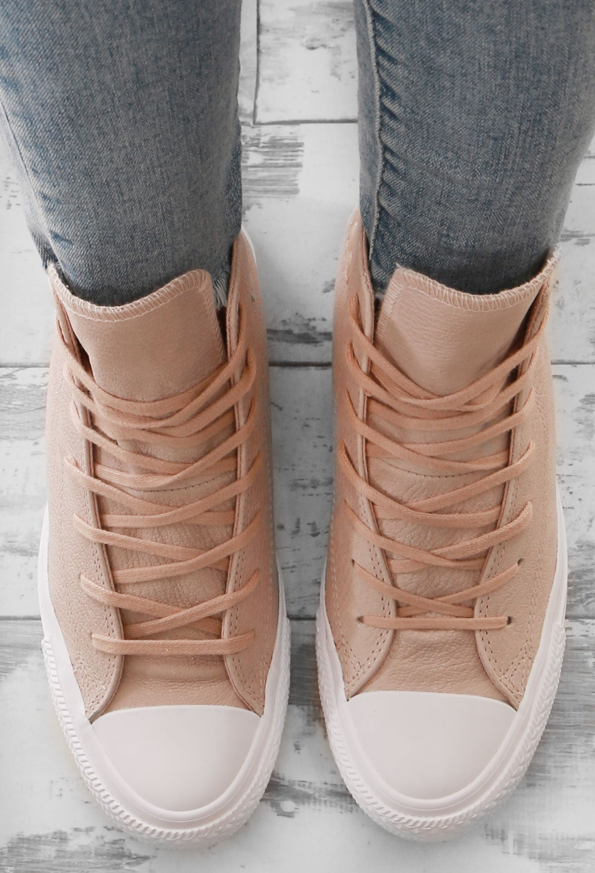 516c5453a91 Chuck Taylor Converse Nude High Top Trainers – Pink Boutique UK
