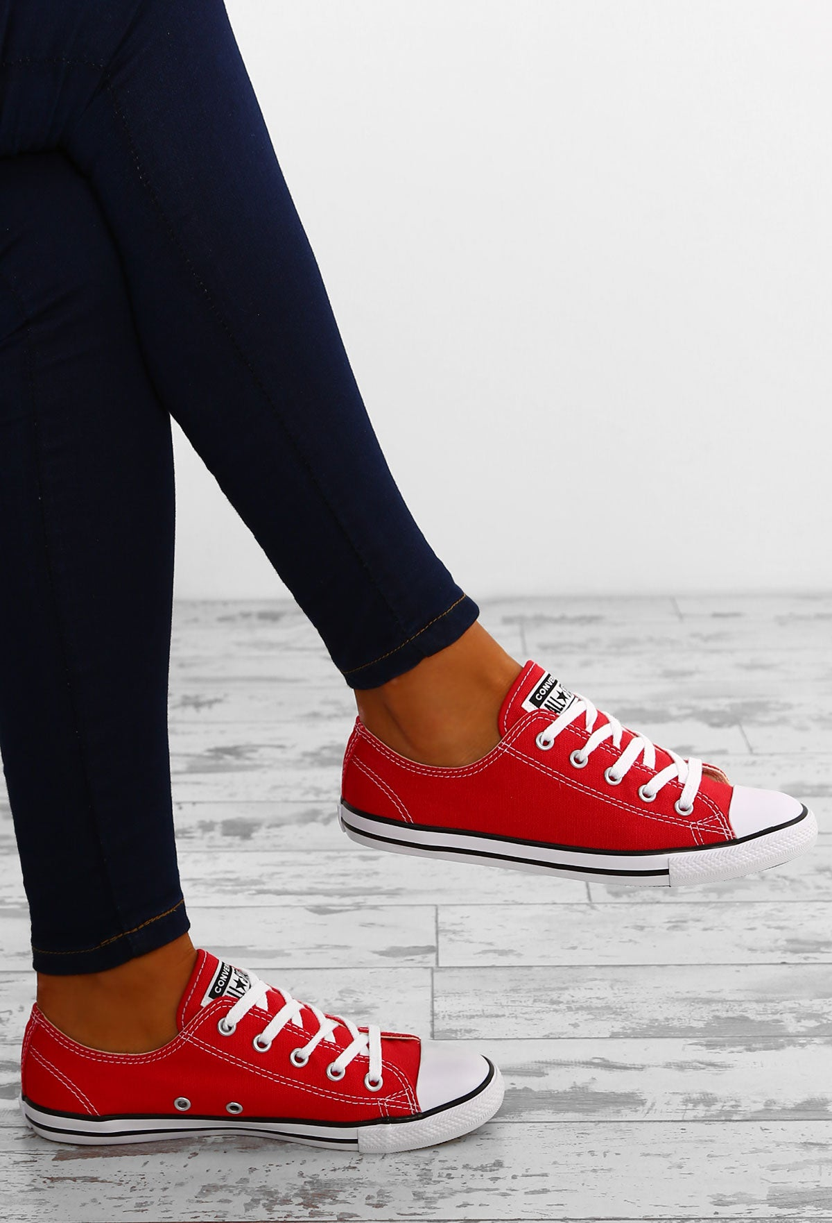 46308e2db3b Chuck Taylor Converse All Star Dainty Ox Varsity Red Trainers – Pink ...