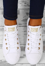 Chuck Taylor Converse All Star Ox White And Gold Trainers