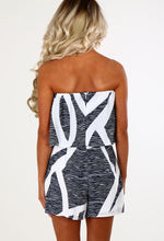 Cool Compliment White and Navy Printed Bandeau Playsuit