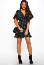 Black Polka Dot Mini Dress - Front with accessory