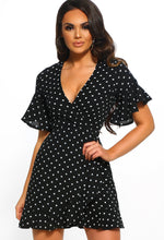 Black Polka Dot Mini Dress - Front
