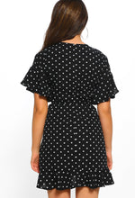 Black Polka Dot Mini Dress - Back