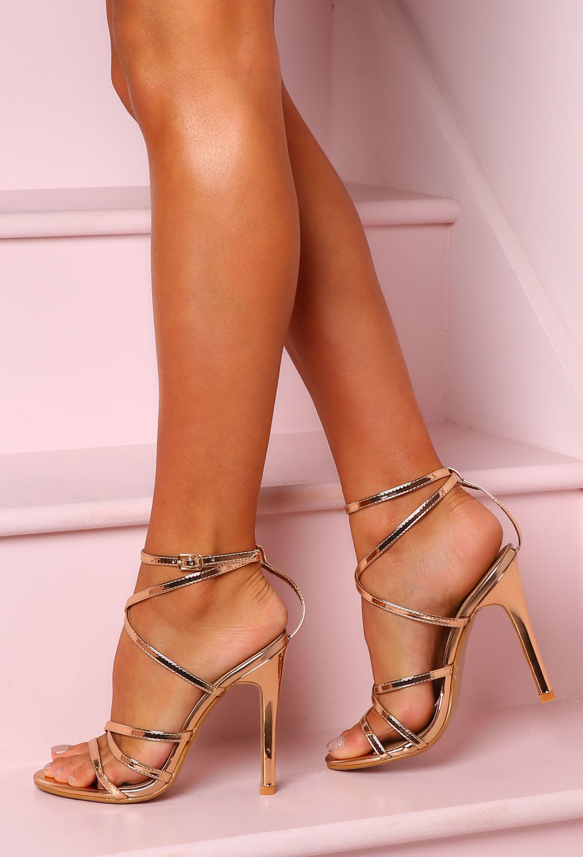 211eb6848eb Cosmo Girl Rose Gold Strappy Stiletto Heels – Pink Boutique UK