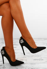 Cosmopolitan Black Suede Embellished Court Shoes
