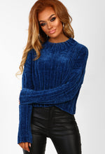 Blue Chenille Soft Jumper - Front View