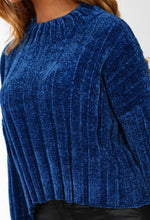 Cosy Days Blue Chenille Cropped Jumper