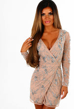 Limited Edition Crash The Party Nude Embellished Wrap Mini Dress