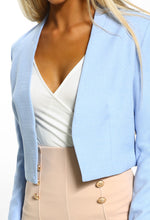 Crazy Cupid Love Blue Cropped Tailored Jacket