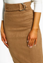 Cross Rhodes Taupe Suedette High Waisted Midi Skirt