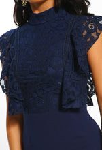 Cross Your Heart Navy Lace Ruffle Detail Midi Dress