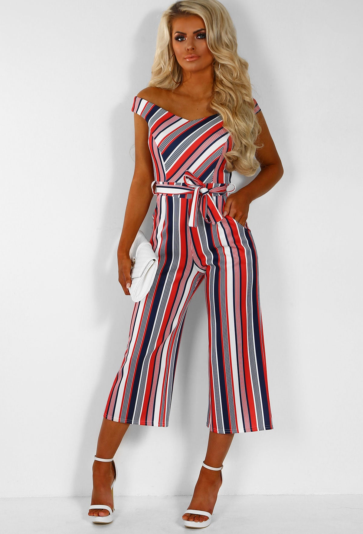 33afd4b0beb Crossed The Line Red Multi Stripe Bardot Culotte Jumpsuit – Pink ...