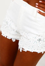 Crystal Desire White Diamante Crochet Denim Shorts