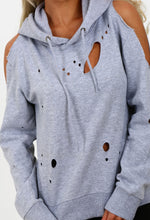 Cut It Out Grey Distressed Cold Shoulder Hoodie