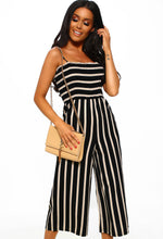 Black Striped Culotte Jumpsuit - Front with Accessory