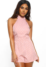 Cute Like Bo Peep Pink Polka Dot Halterneck Playsuit