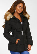 Cute N Cosy Black Faux Fur Hooded Belted Puffer Coat
