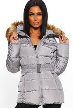 Cute N Cosy Grey Faux Fur Hooded Belted Puffer Coat