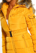 Cute N Cosy Mustard Faux Fur Hooded Belted Puffer Coat