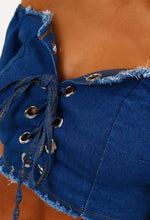 Daisy Duke Blue Denim Bardot Lace Up Front Crop Top