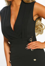 Black Sleeveless Blazer Midi Dress - Detail