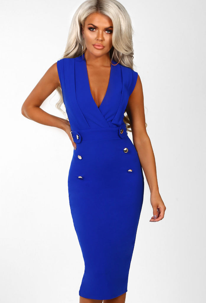 Dancefloor Dream Cobalt Blue Sleeveless Blazer Midi Dress