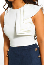 Dancing Under The Stars White Ruffle Crop Top