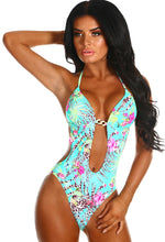 Danika Green Floral Cut Out Plunge Swimsuit